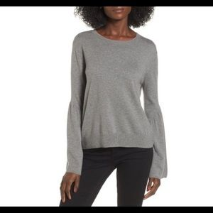 Anthropologie Leith Bell Sleeve Grey Sweater Sz XL